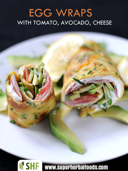 Super Herbal Foods Egg Wraps With Tomato Avocado And